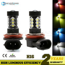 2X H16 80W CREE LED Fog DRL Driving Car Head Light Lamp Bulbs White Super Bright