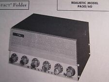 REALISTIC PA30/60  AMP AMPLIFIER PHOTOFACT
