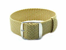 HNS ZULUPATH 20MM Beige Perlon Tropic Braided Watch Strap With Brushed Buckle