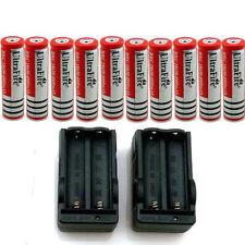 10pcs 18650 3.7V Rechargeable Li-ion Battery Batteries +2pcs Double Charger