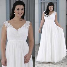 New Chiffon V Neck Wedding Dress Bridal Gown Custom Plus Size 18 20 22 24 26 28+
