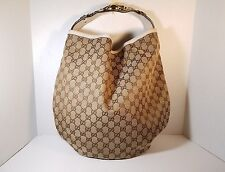 Gucci Large Monogram Signature Ebony Hobo Horsebit handbag