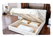 Sadie White or Black Bonded Leather DOUBLE Bed with Gas Lift Storage - BRAND NEW