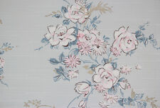 1950's Vintage Wallpaper Pink and White Flowers on Blue