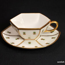 LIMOGES MR Martial Redon PP Paroutaud Freres 6-Sided CUP & SAUCER SET 1903-1917