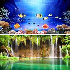 Wow Double Sided Aquarium Poster Background Fish Tank Vivarium Landscape Hot
