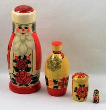 Nesting Dolls Wooden Russian Hand Painted Figures Toy Folk Art 4pc Christmas