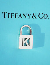 "STUNNING Tiffany & Co Sterling Silver NOTES Alphabet ""K"" Padlock Charm ONLY"