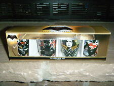 BATMAN VS SUPERMAN & WONDER WOMAN SHOT GLASS GLASSES X 4 NEW GRAFFITI TYPE PICS