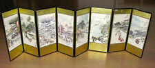 "Vintage Asian 8-Panel Screen Miniature Doll House 29"" x 8"" Tall Dollhouse"