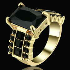 Size 7 Black Sapphire Wedding Band Ring Gold Rhodium plated Party Jewelry Gift