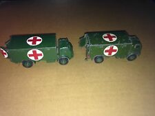 DINKY TOYS 626 MILITARY AMBULANCE  x2 - SPARES OR REPAIR