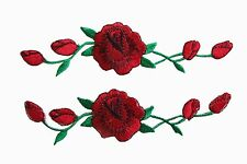 #3965R Lot 2 Pcs Red Rose Flower Embroidery Iron On Applique Patch