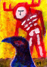 answers e9Art ACEO Crow Shaman Primitive Visionary Outsider Art Brut Pagan Paint