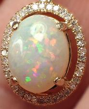 Excellent SOLID AUSTRALIAN GEM OPAL Pendant – Diamonds 14k Gold  10x8 mm 2.19