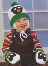 Crochet Pattern ~ TODDLERS BEAR HAT & MITTENS SET Baby ~ Instructions