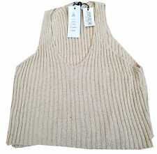 New John Rocha Cropped Cotton Slipover Top Natural (Large) RRP £50 BNWT