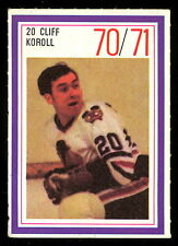 1970-71 ESSO POWER PLAYERS NHL #20 CLIFF KOROLL EX-NM BLACK HAWKS UNUSED STAMP
