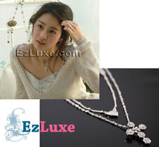 Korean drama TV Stairway to Heaven Cubic Cross Necklace heart 2-layer swarovski