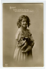 c 1913 Children Chld Kid LITTLE GIRL w/ CUTE CAT photo postcard