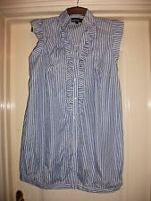 BOOHOO BLUE & WHITE STRIPE RUFFLE FRILL V-NECK BUTTON FRONT SMOCK TUNIC DRESS -8