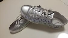 Armani Jeans Women's Silver Sneakers US 9 Comfort, Flat, Leather