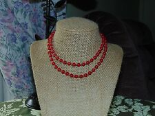 VTG. MONET RED ACRYLIC WITH GOLD TONE BEADED NECKLACE~