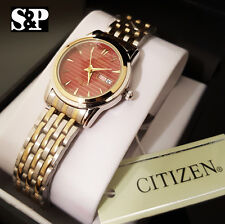 New Women's Citizen Two Tone Red Dial Luxury Metal Band Day & Date Dress Watch