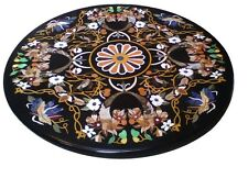 2'x2' Black Marble Round Table Coffee Top Real Gem Inlay Living Home Decor H1574