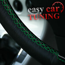FOR VW CADDY 2004+ BLACK REAL GENUINE LEATHER STEERING WHEEL COVER GREEN ST NEW