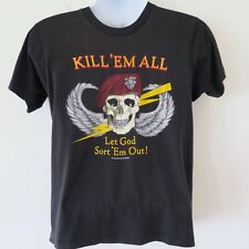 VINTAGE ORIGINAL TEE SHIRT US ARMY RED BERET KILL EM ALL 1980s BLK 50/50 MEDIUM