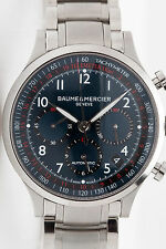 Estate XL Baume & Mercier BLUE Red DIAL SS Mens Capeland Chronograph Watch 44mm