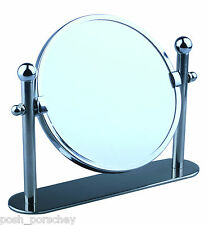 SWIVEL CHROME MAGNIFYING FREE STANDING PEDESTAL COSMETIC MAKEUP BATHROOM MIRROR