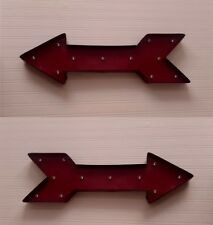 Grande Metallo LED FRECCIA ROSSA Wall Art VINTAGE CIRCO industriale CINEMA EXIT SIGN
