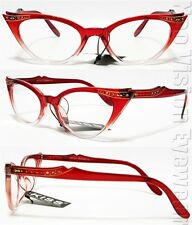 Rhinestone Cat Eye Glasses 50s Pinup Vintage Style Clear Burgundy Red K17B CL