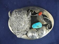 Vintage Keams Chee Navajo Belt Buckle Buffalo Head, 1937 Indian Coin Turquoise