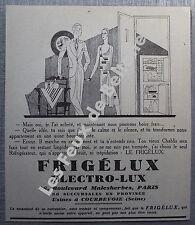 Publicité FRIGELUX ELECTROLUX DESSIN ART DECO COUPLE       1932