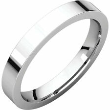 3mm Solid 14K White Gold Plain Flat Style Comfort Fit Wedding Band Ring Size 8