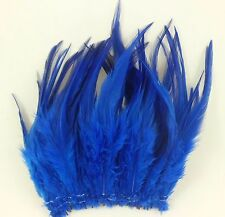"""100+ ROYAL FANCY BLUE TEAL ROOSTER SADDLE CRAFT HAIR FEATHER 5""""-7""""L"""
