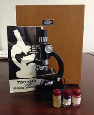 Vintage Tasco Microscope Zoom 50x-750x in Wooden Box/Case
