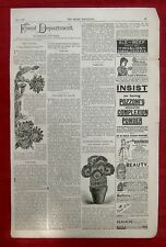 CLIPPING FROM MAY 1891 LADIES' HOME JOURNAL - FLOWERS & VOICE TRAINING