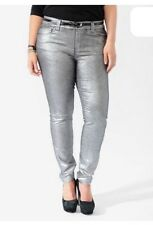 New Retro Punk Forever 21 Plus Size Silver Metallic Stretch Skinny Jeans Size 18