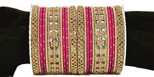 Gold Tone Magenta India Bridal Bangle Set Bracelet Wedding Jewelry Women 2*8 CZ