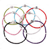 FREE SHIP 2PCS LEATHER BRAIDED LOVE CHARM BRACELET FIT BEADS 18CM COLOR TO PICK