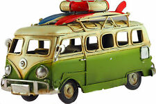 VW Camper Van 16cm Model Metal Ornament With Surf Boards - Green