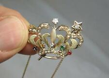 Diamond Emerald Sapphire Crown Necklace Antique Art Nouveau Edwardian 14K Ruby