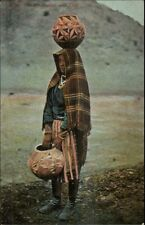 Native American Indian Woman w/ Olla Pot on Head c1910 Postcard