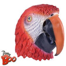 Red Parrot Mask Panto Fancy Dress Bird Animal Hawaiian Costume Adults Accessory