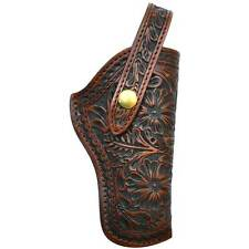 3D TAN HAND TOOLED FLORAL LEATHER RIGHT HAND REVOLVER HOLSTER W/ STRAP