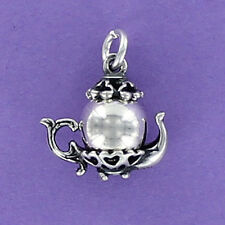 Teapot Charm Sterling Silver 925 for Bracelet Tiny Tea Party Pot Hearts NEW